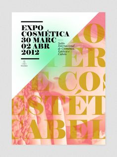 Visual identity for the 2012 ExpoCosmética, an international cosmetic exhibition, based on Porto, Portugal. The concept behind the image is to turn the event into a huge fashion editorial. Strong with black. Elegance with golden and pink-salmon. Freshness with green blush.
