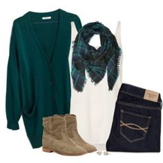 Teal green cardigan, frayed plaid scarf & suede boots