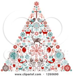 Clipart of a Retro Christmas Tree Made of up Holiday Items - Royalty Free Vector Illustration by OnFocusMedia