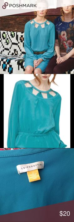 Anthropolgie isosceles cutout turquoise tunic Silk tunic can be worn as a short dress or as a tunic. Beautiful turquoise color Anthropologie Tops Tunics