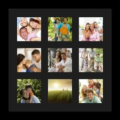 Amazon.com - ArtToFrames Collage Photo Frame Single Mat with 9 - 4x4 Openings and Satin Black Frame. -