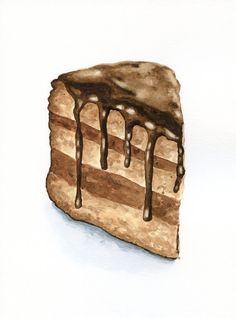 Slice of Chocolate Cake ORIGINAL Painting por ForestSpiritArt