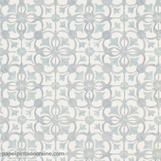 Papel Pintado Cavaillon CAV_6503_90_09 imitación azulejos con dibujo floral en tono grisáceo con detalles en un claro verde.