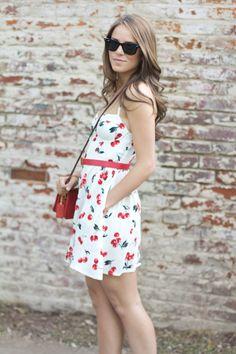 Gal Meets Glam - Cherry dress + beautiful hair