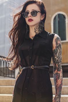 Pinup Fashion: I have a black dress just like this one! Love the black skinny belt and cool shades. Tats look awesome too.