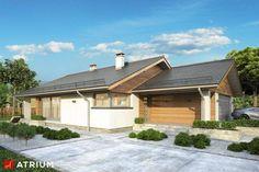 Parterowy dom z zadaszonym tarasem i garażem - Studio Atrium Atrium, Studio, Future House, House Plans, Garage Doors, Cottage, House Design, Cabin, How To Plan