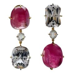 Burmese Pink Tourmaline Danburite Gold Clip Earrings   From a unique collection of vintage clip-on earrings at https://www.1stdibs.com/jewelry/earrings/clip-on-earrings/