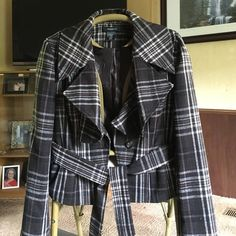 Arden B coat Arden B coat  Beautiful brown plaid with button and front tie closure. Excellent condition. Arden B Jackets & Coats