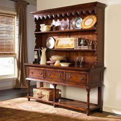 Walnut country style dresser with two shelves, scalloped detail to the frieze, and the lower section with three drawers, baluster legs and a raised plank under-tier. Find Furniture, Luxury Furniture, Furniture Design, Furniture Ideas, Welsh Dresser, Cottage Style Decor, Wholesale Furniture, House Inside, Country Farmhouse