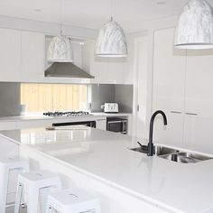 The ultimate white on white kitchen for a happy client 😃✌🏻 Stone Benchtop, Top Interior Designers, Splashback, Luxury Furniture, Design Projects, Kitchen Design, Kitchen Cabinets, Vanity, Inspiration