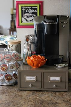 A Changed-Up Coffee Corner - Crazy Marie - Coffee Stations Coffee Station Kitchen, Home Coffee Stations, Coin Café, Recipe Organization, Metal Drawers, Coffee Corner, Household Items, Coffee Shop, Coffee Maker