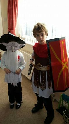 World Book Day March 2015.  Goblin from Little Rabbit Foo Foo and Roman Soldier from Horrible Histories (husband made sword & Sheild)