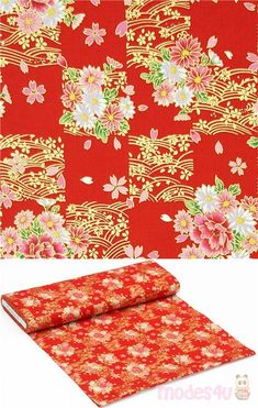 """red checkered cotton fabric with peonies, daisies, sakura (cherry blossoms), with metallic gold embellishment, Material: 100% cotton, Pattern Repeat: ca. 20cm (7.9"""") #Cotton #Flower #Leaf #Plants #Metallic #JapaneseFabrics Sakura Cherry Blossom, Cherry Blossoms, Kawaii, Modes4u, Japanese Fabric, Metallic Gold, Decoration, Embellishments, Cotton Fabric"""