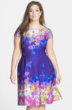 Print Fit & Flare Dress (Plus Size)