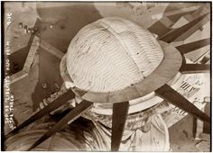Statue of Liberty circa 1908. Top of the head as seen from the torch.