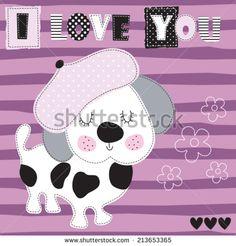 i love you dog vector illustration - stock vector
