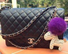Pouf fur bag handbag charm
