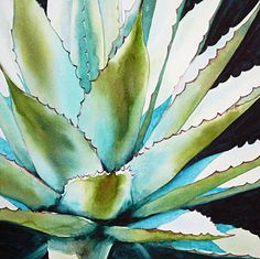 Succulent Painting - Agave by Ariel Freeman