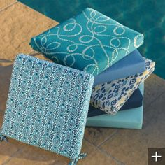 All-weather Outdoor Cushions in Island Blue for Rocking Chair