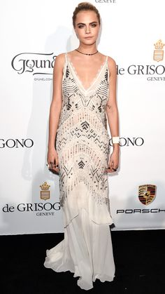CARA DELEVINGNE Delevingne looked demure in this flowing Roberto Cavalli creation that featured beaded embellishments.