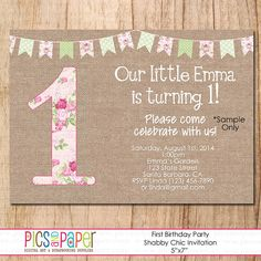 Shabby Chic and Burlap First Birthday Invitation with Bunting Banner and Pink Roses-Digital FIle Only- Add text on Etsy, $6.00