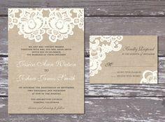 Burlap Lace Rustic Wedding Invitation Suite By PartyPrincipessa, $29.95