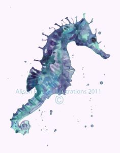 Watercolor sea horse
