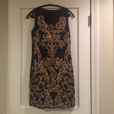 Lovely vintage-style dress This dress is a gem, but I've never worn it. The gold detailing is perfection. NWOT Dex Dresses Midi