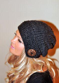 Slouchy Beanie sombrero flexible botón punto de invierno lana adolescente adulto elegir COLOR carbón de leña gris oscuro gris grueso de Navidad
