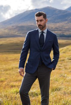 Slate blues, cool greys, and greens inspired by the colors of northern Scotland, featuring all-new custom shirts and jackets. Nick Wooster, Skye Scotland, Custom Shirts, Gentleman, Blues, Suit Jacket, Suits, Fall, Collection