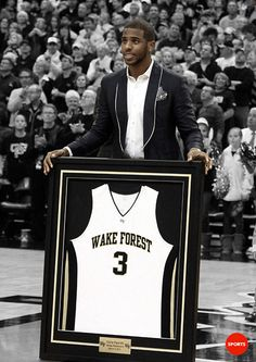 """usatodaysports:    Wake Forest retires Chris Paul's jersey.  """"Chris Paul says it is fitting his jersey now hangs between Josh Howard and his Wake coach, the late Skip Prosser."""" — USA TODAY Sports' Tom O'Toole"""