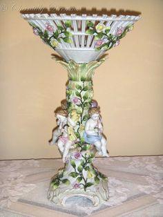 Divine Antique Von Schierholz Reticulated German Porcelain Cherubs Compote, circa 1900s