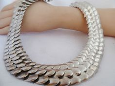 185 gram VTG TAXCO SNAKE SCALE STATEMENT NECKLACE MEXICO MEXICAN STERLING SILVER