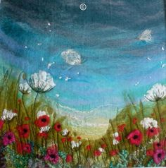 'Summer Dreams' SOLD - Threlfall's Art Studio | Silk Paintings | Felt Paintings | Acrylics | Caren and Pete | Country, Town and Seascapes | Workshops |