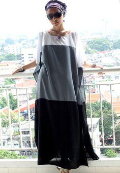 Maxi dress kaftan white / gray / black tunic caftan by SaudadeSun