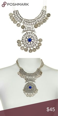 """Eye Candy Los Angeles Alisa Necklace Details:  - Silver-tone plated faceted enamel stone necklace with dangle accents - Lobster clasp - Approx. 22"""" chain length - Approx. 8"""" L x 3"""" W bib - Imported  Materials:  Silver-tone plated alloy, enamel stone Eye candy  Jewelry Necklaces"""