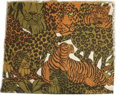 Vintage Payne & Co Jungle Pride Sophisticate Selection Fabric Tiger Leopard Lion #PayneCo