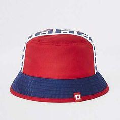 d98bd467478 River Island Mini boys red RI reversible bucket hat