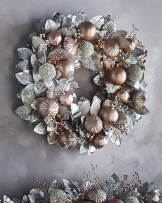Shop Blush & Pewter Collection Pre-Lit Wreath at Horchow, where you'll find new lower shipping on hundreds of home furnishings and gifts. Pre Lit Wreath, Lighted Wreaths, Gold Wreath, Wreath Fall, Christmas Wreath Image, Christmas Door Wreaths, Holiday Wreaths, Wreath Crafts, Ornament Wreath