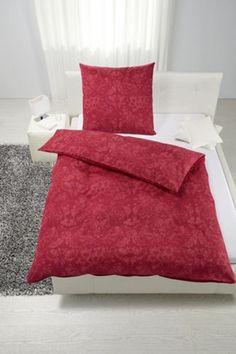 Bettwäsche aus 100% Baumwoll-Satin in der Farbe Rot. B/L: ca. 135/200cm und 80/80cm.