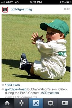 Bubba Watson shows off his adorable baby boy as he prepares to defend his Masters title while Wayne Gretzky's starlet daughter turns heads supporting her golfer boyfriend Lindsey Vonn, Tiger Woods, Cute Kids, Cute Babies, Masters Golf, Perfect Golf, Golf Quotes, Hole In One, Golf Fashion