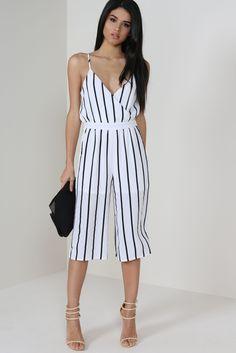 White Striped Culotte Jumpsuit €37.99 #culottejumpsuit #stripedjumpsuit #wrapjumpsuit #vavavoom