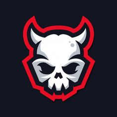 Logotipo de mascote de caveira com chifr. Skull Logo, Skull Art, Cool Illusions, Game Logo Design, Sports Team Logos, Shield Logo, Mascot Design, Arte Horror, Samurai