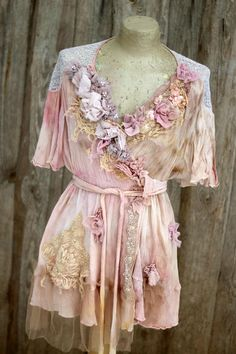 Blush petals, wrap tunic, ornate boho  bohemian romantic, altered couture, embroidered details by FleursBoheme on Etsy https://www.etsy.com/au/listing/567594404/blush-petals-wrap-tunic-ornate-boho