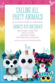 Custom Beanie Boos Invitations feature a festive message and can be personalized with your custom message or name. Choose from 3 sizes and send out these party invitations in the included envelopes. 9th Birthday Parties, 8th Birthday, Birthday Party Invitations, Beanie Boo Party, Beanie Boos, Puppy Party, Baby Party, Beanie Boo Birthdays, Adoption Party