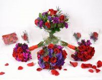 Red and Purple Passion Wedding Flower Collection. http://www.russwholesaleflowers.com/red-and-purple-passion-wedding-flower-collection   The Red & Purple Passion Wedding Flower Package Collection makes a bold statement with this trendy color combination. A transfusion of rich red and purple flowers delivers an elegant look that's sleek, fancy, and chic. An astounding choice for dramatic formal and semi-formal weddings.