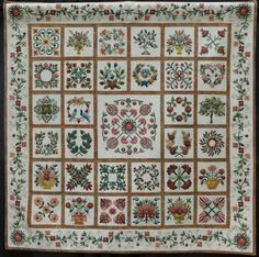 """""""3 of 1"""" by Joan Dorsay.  Baltimore album quilt, original patterns by Joan Dorsay and other patterns adapted from designs by Elly Sienkiewicz, Jeanna Kimball and Deborah Kemball. Workmanship in Appliqué award,  2014 National Juried Show ~  Canadian Quilters' Association"""