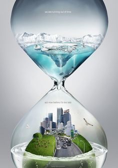 This image has used the image of hourglass to indicate the importance of the water to general public.