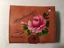 Vintage Detroit Handkerchiefs Antique Snap Closure Box Old City Souvenir