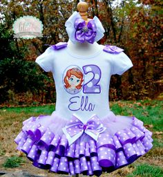 Sofia the First Tutu Set, Ribbon Trim Birthday Set ~ Includes Top/Onesie,Tutu, Hair Accessory on Etsy, $64.99